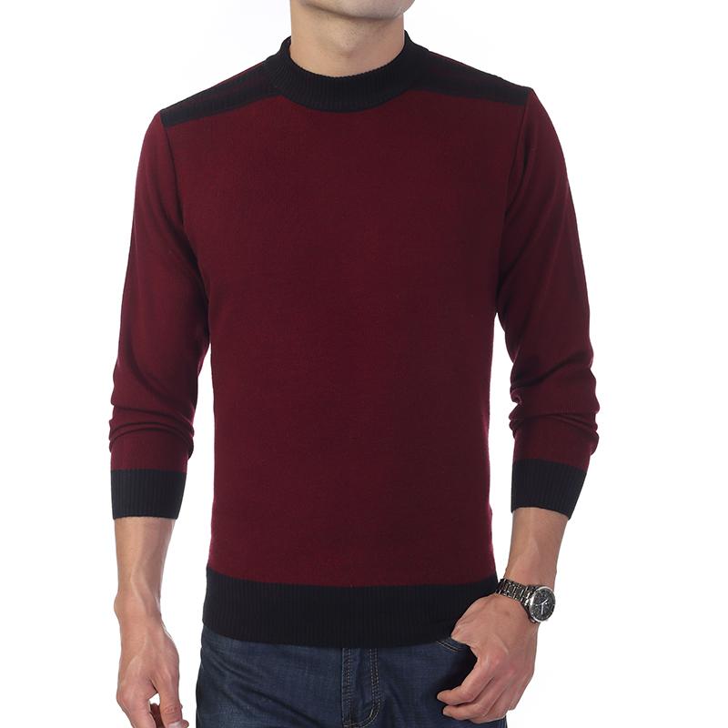 包邮中年男装冬款加厚纯色羊绒羊毛混纺羊毛衫 男士长袖针织毛衣