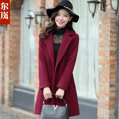 Seoul Lan 2014 new winter coat Korean yards ladies woolen jacket Girls long woolen coat tide