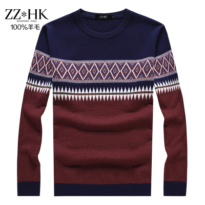 2014 autumn and winter new retro stitching round neck sweater thick sweater men in camouflage sweater pure null
