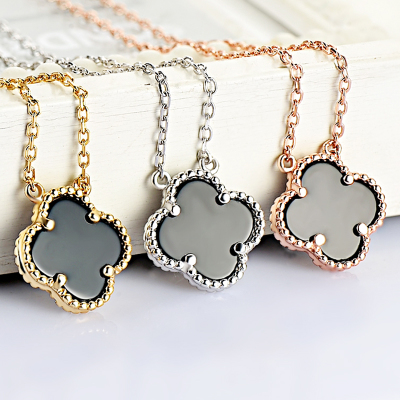 925 Clover silver necklace female short paragraph clavicle chain necklace 18k rose gold pendant with Korean fashion jewelry