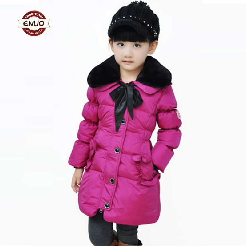 Enuo thick girl down jacket bowknot long coat  kids colthing Taobao Agents