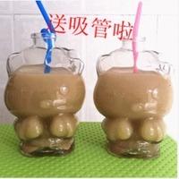 天天特价hello kitty猫异型玻璃瓶 创意奶茶杯玻璃瓶 密封饮料瓶