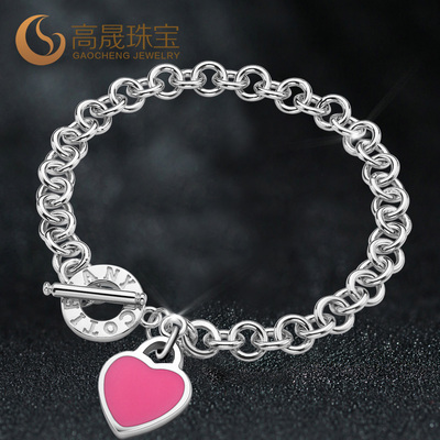 Goldex sterling silver heart-shaped bracelet jewelry love Japan and South Korea fashion jewelry for men and women circled O word chain bracelet