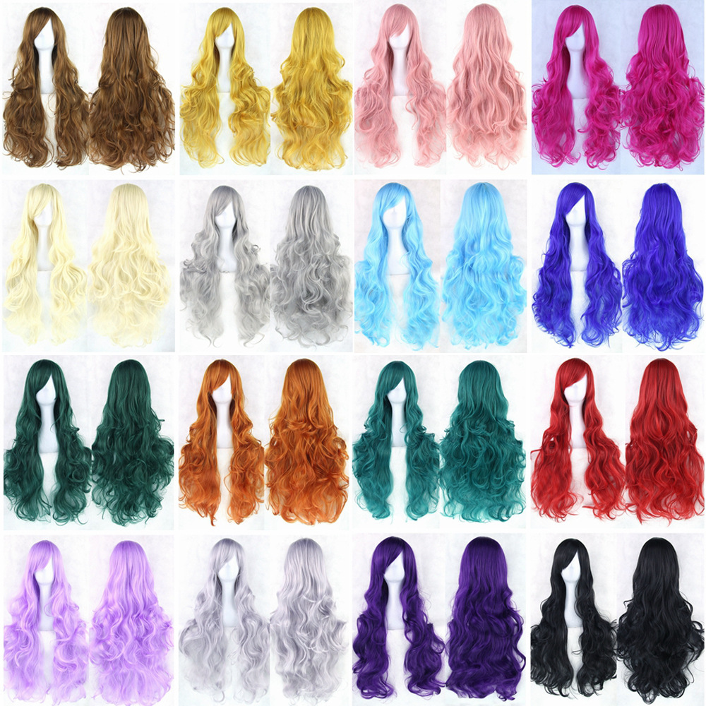 cosplay wig women long curly hair wig multicolor hair 80CM