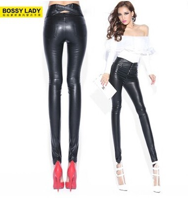 BOSSY LADY2014 new winter in Europe and the wind cross hollow out of tall waist leather pants package buttocks thin leg pants