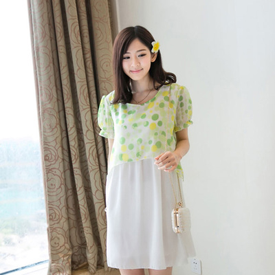 Female code of new fund of 2014 autumn summer holiday two sweet dot printed chiffon stitching lovely pregnant women dress