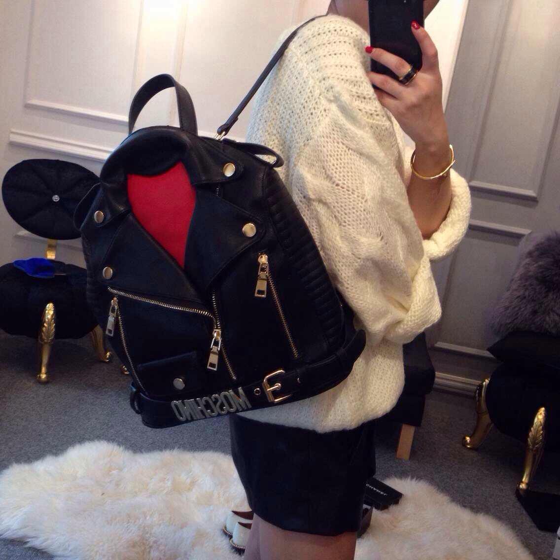 [Праздник] прилив новой Moschino рюкзак Европы и McDonald's Сумки нагрудные черный рюкзак