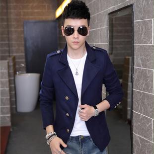 韩版立领潮男中长款修身风衣男士呢子大衣青年时尚款秋冬季外套