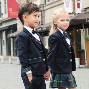 幼儿园园服秋冬装三件套中小学生套装校服定制儿童学院英伦风班服