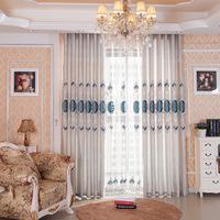 2016现货批发客厅卧室遮光绣花窗帘成品刺绣窗帘布料厂家直销