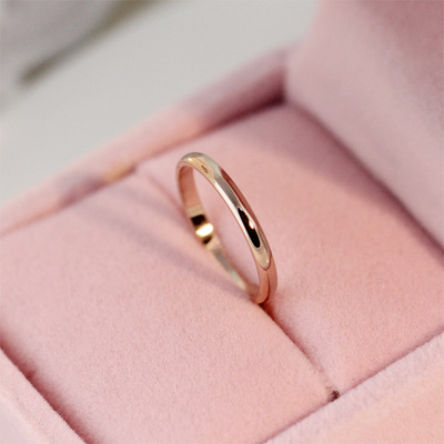 Korean jewelry ring tail ring finger ring Fashionable simple single color gold titanium steel rings Korean smooth