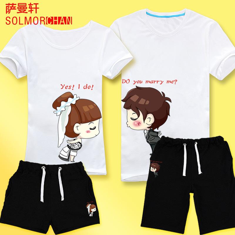 萨曼轩情侣t恤 结婚夏季新款韩版可爱短袖纯棉情侣装夏装卡通套装