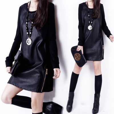 Europe and the US fall and winter clothes new large size Slim package hip skirt bottoming plus thick velvet long-sleeved dress stitching Pu Leather women
