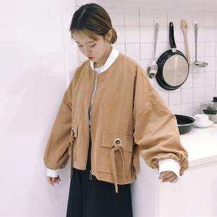 秋冬女装bf风宽松原宿绑带短款棒球服学生泡泡袖夹克外套