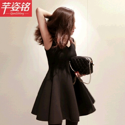 2014 Korean version of the Slim models dress Hepburn Wind ladies flounced skirt sleeveless little black dress