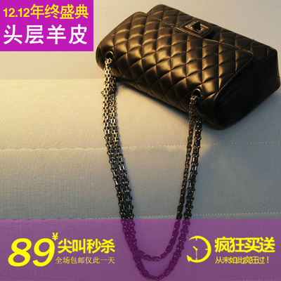 2014 new winter bag Quilted chain bag black sheepskin leather handbag shoulder bag hand diagonal small bag