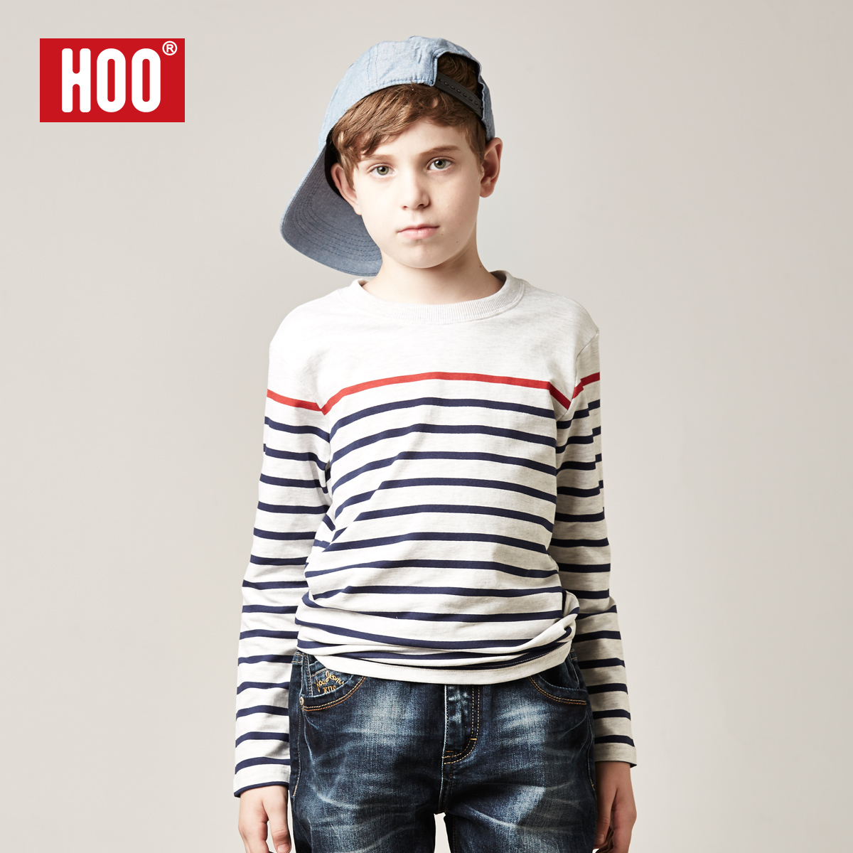 男童打底衫长袖_HOO童装男童圆领长袖打底衫儿童青少年条纹t恤2014中大童儿童上衣
