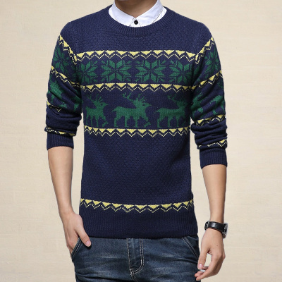 Slim round neck sweater men's winter hedging warm sweater for men in camouflage sweater male Korean tidal thickening