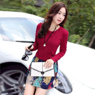 2015秋装新款韩版女装修身拼接印花长袖假两件套装连衣裙子显瘦潮