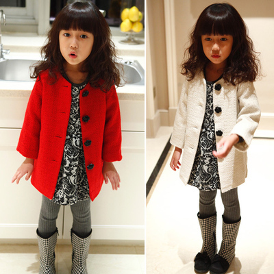 Roses overcoat woolen cloth coat buckles children children's wear new cloth coat fall 2014 han edition of the girls