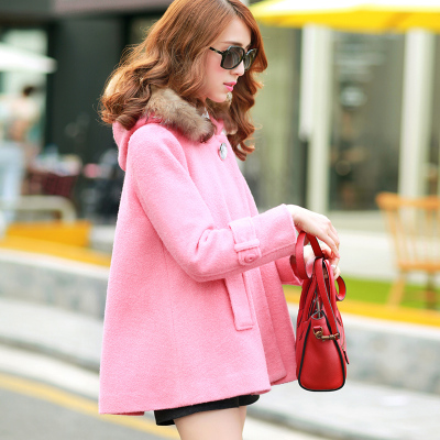 Autumn also woolen coat Korean version of spring 2015 women new small fragrant wind woolen cape coat woolen winter coat