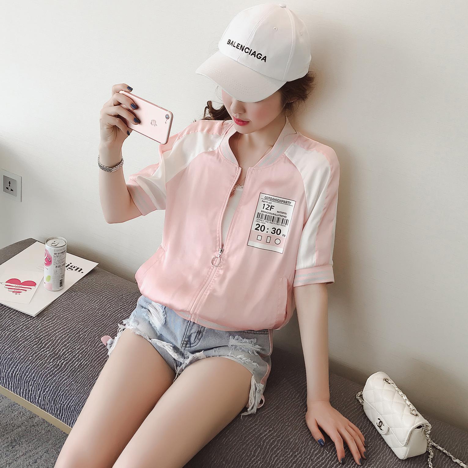 A1383-2017春夏新款女装韩版百搭立领中袖贴布防晒衣外套 0403