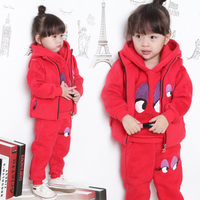 2014 new children's clothing children sweater plus thick velvet three-piece infant baby girl sportswear 2-3-4-5 years old
