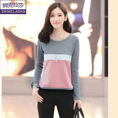 2014 fall and winter clothes new large size women's striped stitching plus thick velvet long-sleeved round neck sweater bottoming shirt female female