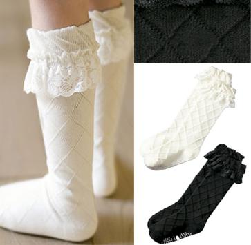 3元)  4: 2双包邮0-1岁婴儿童女宝宝蕾丝翻花边白色纯棉日系可爱公主