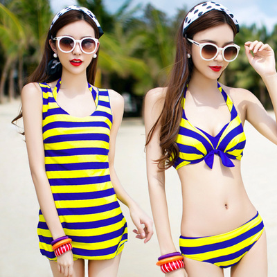 Spa swimwear female split skirt style conservative cover the belly big chest small chest gather steel Toby Gini three-piece swimsuit
