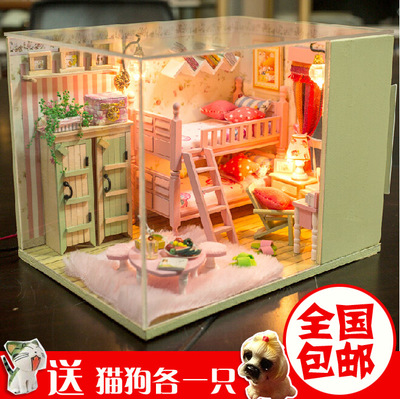 DIY mini romantic cabin house hand-assembled model house birthday gift ideas girl girls toys