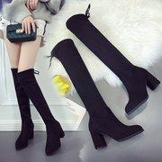 尖头高跟过膝长靴粗跟长筒靴显瘦女士弹力靴高筒骑士靴女靴子