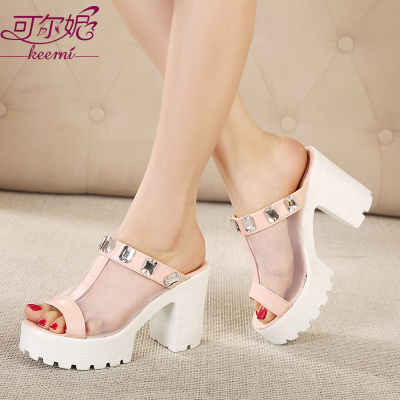 2015 spring and summer new diamond mesh thick with high-heeled slippers fish head thick crust muffin stylish white women shoes