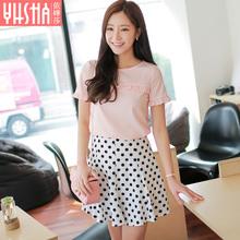 依嬅莎2017夏季新款韩版女装圆领荷叶袖纯色上衣粉色短袖雪纺衫女图片