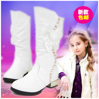2014 new Korean version Dongkuan girls boots high boots leather boots influx of white princess shoes children cotton velvet boots