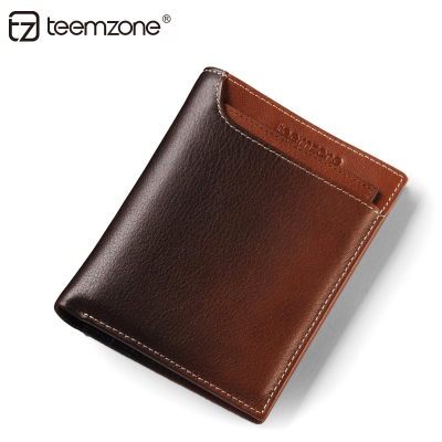 teemzone Ting genuine respect for money Baotou cowhide leather men's casual short paragraph wallet tide male