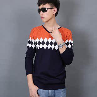 2015八级风时尚毛衣条纹撞色V领男士毛衣男潮厂家直销正品