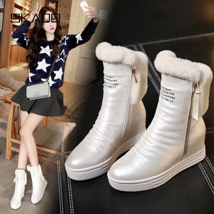 秋冬女鞋白色真皮女靴子厚底内增高雪地靴高跟短靴加绒二棉鞋