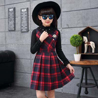 女童春秋装格子背心连衣裙中大童秋冬季儿童韩国时尚女孩马甲裙子