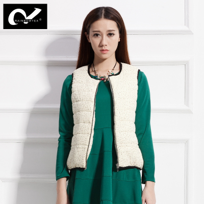 2015 new women's sweet floral corduroy warm down vest cotton vest metal chain casual jacket
