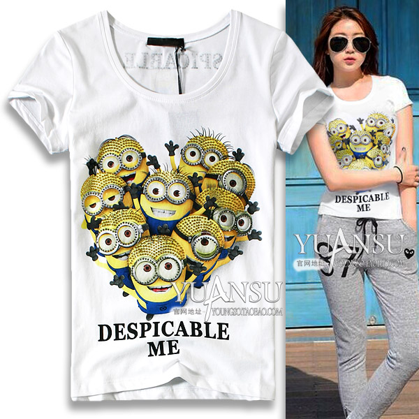 Cartoon yellow people High 2015 summer wear new dress drills very cultivate one's morality short sleeve T-shirt