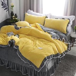 水晶绒床单珊瑚绒四件套法兰绒双面绒被套床上公主风加厚冬季