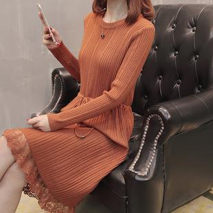 长款蕾丝毛衣裙过膝打底衫针织连衣裙加厚圆领套头毛衣女冬季
