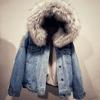2018大毛领羊羔毛外套女装短款棉袄连帽加绒加厚牛仔衣宽松棉服冬