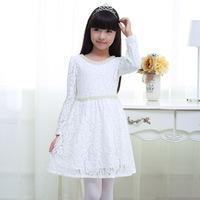 中大女童连衣裙秋夏装纯棉白色公主裙10岁12小学生女孩裙子长袖15
