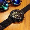 欧美时尚潮流全黑手表精钢带大表盘男表多功能防水军表石英表