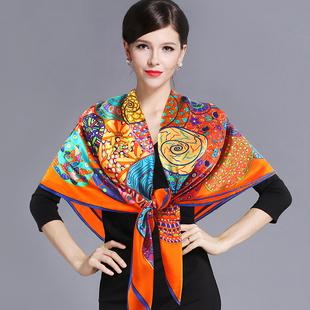 丝绸桑蚕丝围巾春秋超大真丝大方巾披肩两用高档女丝巾