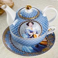 乐琪陶瓷 单人早餐壶一人咖啡壶 英式皇家骨瓷陶瓷子母壶杯碟茶具