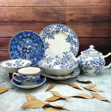 外贸原单英国JBS青花西餐具汤碗糖罐壶牛排平盘子套装德文郡陶瓷