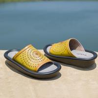 棉麻民族风真皮凉拖鞋手工羊皮镂空透气厚底女鞋夏季中跟休闲拖鞋